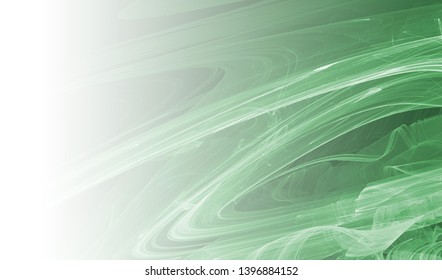 Green abstract fractal background. Faded page side.