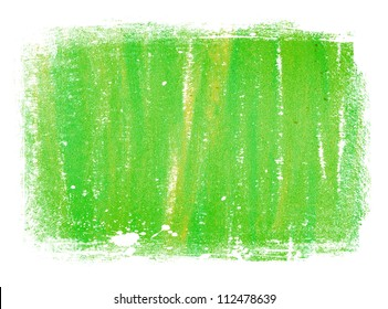 Green abstract hand painted background texture with grungy weathered border