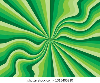 Green abstract striped perspective with swirls and waves.  Groovy, psychedelic St. Patrick's Day background.