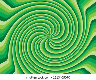 Green abstract striped swirl.  Groovy, psychedelic St. Patrick's Day background.