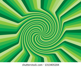 Green abstract striped swirl inside a burst of rays.  Groovy, psychedelic St. Patrick's Day background.