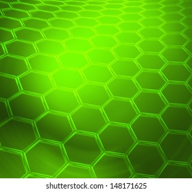 Green abstract technical or scientific  shiny background with graphene molecular structure