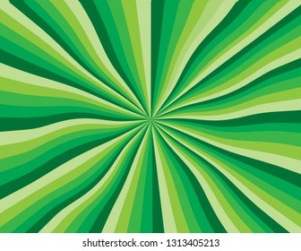 Green abstract wavy rainbow perspective.  Perspective with concentration lines.  Groovy, psychedelic St. Patrick's Day background.