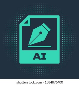Green AI file document. Download ai button icon isolated on blue background. AI file symbol. Abstract circle random dots.