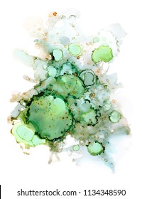 Green alcohol ink abstract background. Marble texture. Agate stone slice. Luxury emerald  ink background