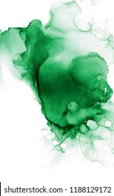 Green alcohol ink abstract background.Luxury Emerald Ink background. Marble swirls texture. Malachite stone slice.