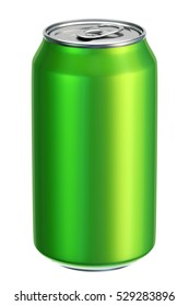 Green aluminium drink can 3D illustration