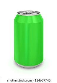 Green Aluminum Can. Isolated on a white.