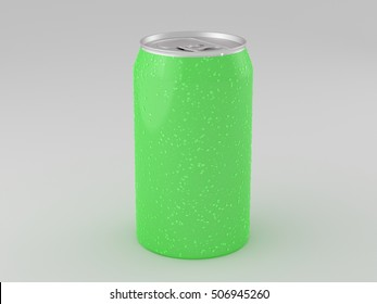 Green aluminum can mockup with condensation drops isolated on white background. Include clipping path. 3d render