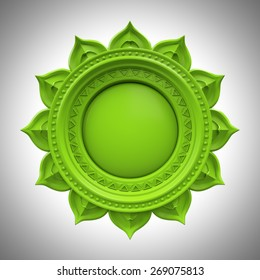 green Anahata heart chakra base, 3d abstract symbol, isolated color design element