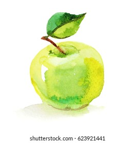 Green apple with leaf, watercolor illustration on white background