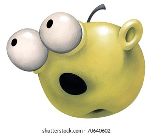 Green Apple with a surprised naive Face expression. Its eyes are widely open and look like white balls sticking out. It's mouth is opened