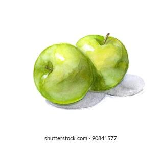 Green apples. Watercolor illustration