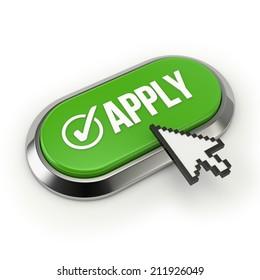 Green apply button with metallic border on white background