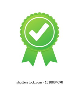 Green approved star sticker on white background.  stock illustration.