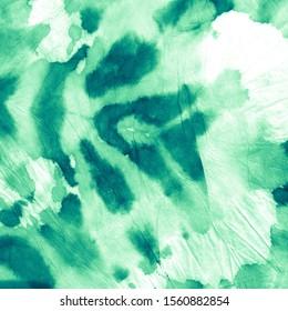 Green Aquamarine Watercolor Dirty .Tie Dye Dirty Art. Craft Messy Texture. Green Grungy Decorate Paper. Aquamarine Artistic Dye Banner. Trendy Fashion Print.