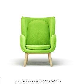green armchair isolated on a white. 3d illustration