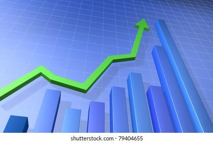 Green Up Arrow with Blue Bar Graph