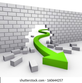 green arrow breaking through a wall