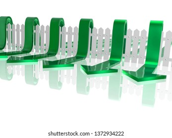 Green arrows and fence on white reflective background, 3D illustration.