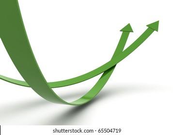 Green arrows illustration 3d render