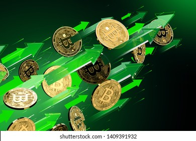 Green arrows points up as Bitcoin (BTC) price rises. Cryptocurrency prices grow, high risk - high profits concept. 3D rendering