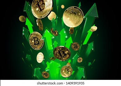 Green arrows shots up with high velocity as Bitcoin (BTC) price rises. Cryptocurrency prices grow, high risk - high profits concept. 3D rendering