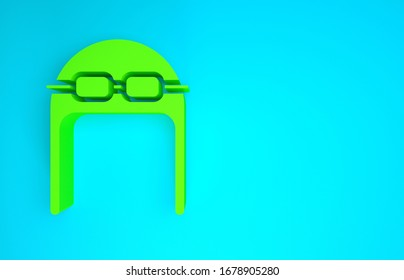 Green Aviator hat with goggles icon isolated on blue background. Pilot hat. Minimalism concept. 3d illustration 3D render