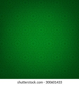 Green background with arabian geometric pattern. Islamic card