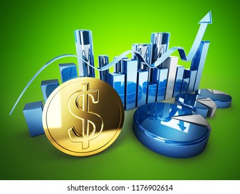 green background golden dollar sign coin  and 3d illustration graphics