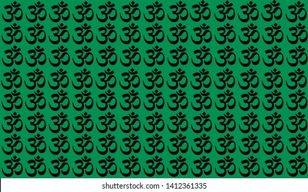 Green Background with Traditional Indian symbols: mantra, om, ganesh. Seamless pattern with Spiritual Yoga Symbol of Om, Aum ,Ohm India symbol Meditation, yoga mantra hinduism buddhism zen, icon.
