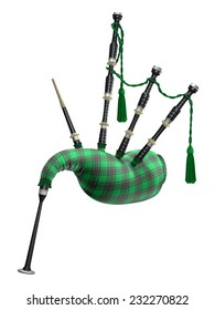 Green bagpipe isolated on white background