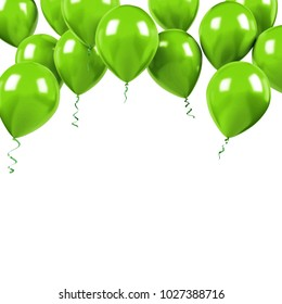 Green baloons on the upstairs with clear path isolated on white background. 3D illustration of beautiful, candy, glossy baloons