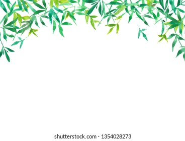 green bamboo leaves for background, watercolor illustration