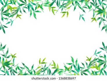 green bamboo leaves frame for background, watercolor plant illustration