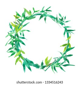 green bamboo leaves frame, natural wreath circle frame, isolated watercolor illustration