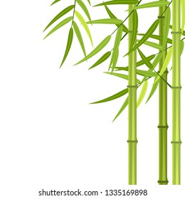 green bamboo stems and leaves isolated on white background with copy space. illustration in flat style Raster version.