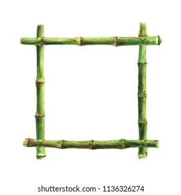 Green bamboo stems sticks frame isolated on white background. Watercolor hand drawn illustration with space for text, image, border, template, photo frame. Watercolour background.