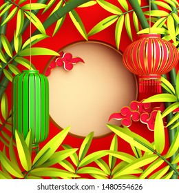 Green bamboo, traditional Chinese lanterns lampion, moon and paper cut cloud. Design creative concept of chinese festival celebration mid autumn, gong xi fa cai. 3D rendering illustration.
