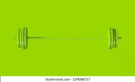 Green Barbell 3d illustration 3d rendering