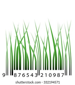 Green barcode with grass