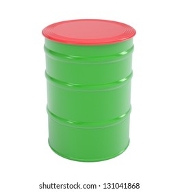 Green barrel. Isolated render on a white background