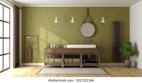 Green bathroom with washbasin,radiator and large window - 3d rendering