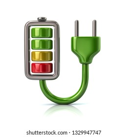 Green battery charging plug icon 3d illustration on white background