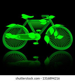 Green bicycle with leaves on black background