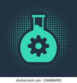 Green Bioengineering icon isolated on blue background. Element of genetics and bioengineering icon. Biology, molecule, chemical icon. Abstract circle random dots.