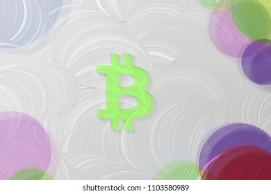 Green Bitcoin Icon on the White Painted Oil Background. 3D Illustration of Green Bitcoin, Coin, Currency, Digital Currency Icon Set on the White Background.