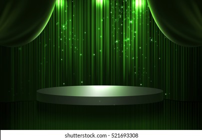 Green and black curtain and round stage in the dark with spotlight, glittering and sparkling stars