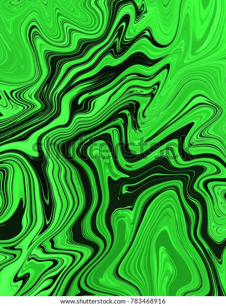 Green and black digital background made of interweaving curved shapes. Illustration