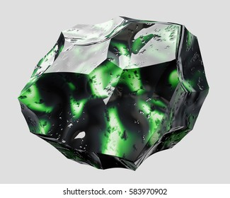 Green and black shiny beautiful stone - 3D illustration isolated on white background.